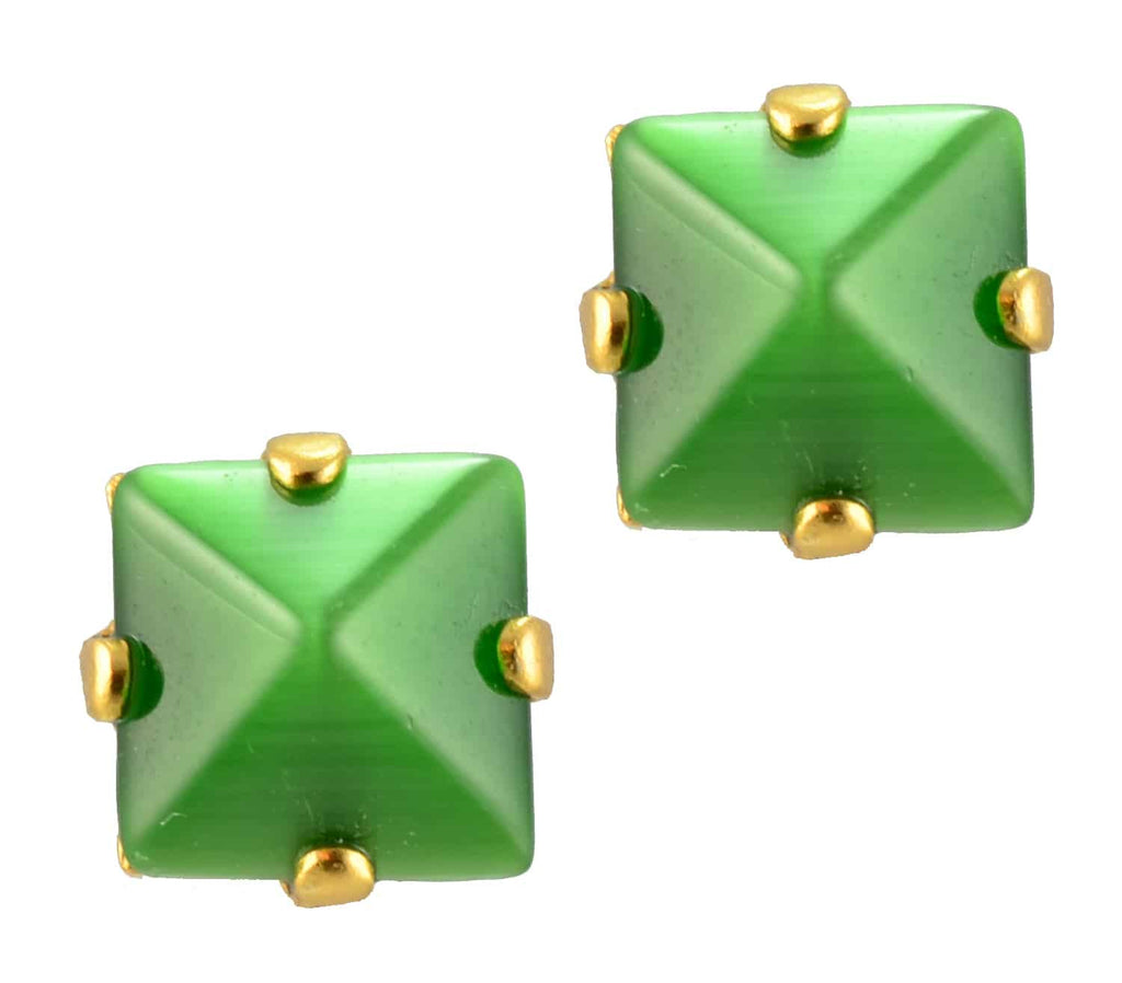 Mariana Gold Plated Square Swarovski Crystal Post Earrings in Green