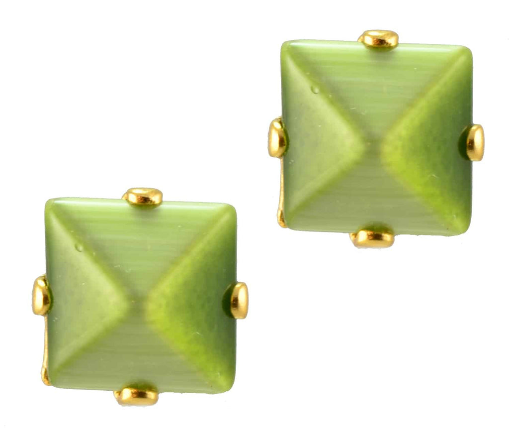 Mariana Gold Plated Square Swarovski Crystal Post Earrings in Olive Green