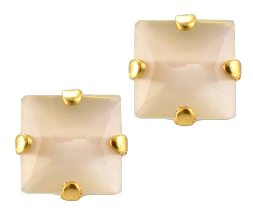 Mariana Jewelry Gold Plated Square Swarovski Crystal Post Earrings in Opaque Crystal