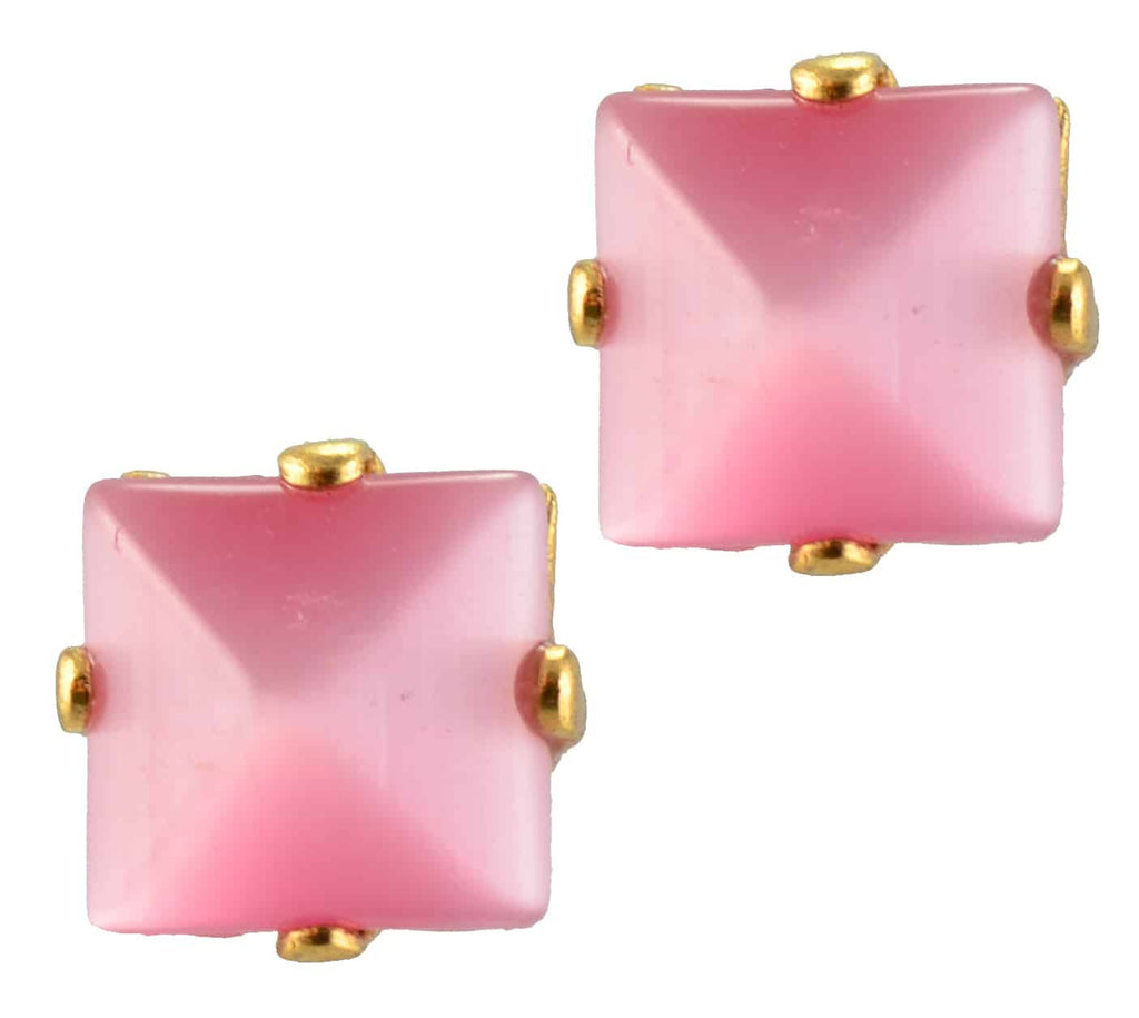 Mariana Jewelry Gold Plated Square Swarovski Crystal Post Earrings in Pink