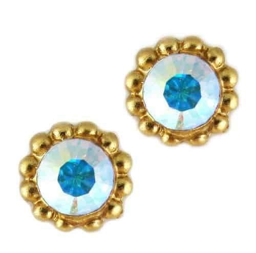 Mariana Gold Plated Sunflower Post Earrings with Clear Crystal Aurore Boreale Swarovski Crystal