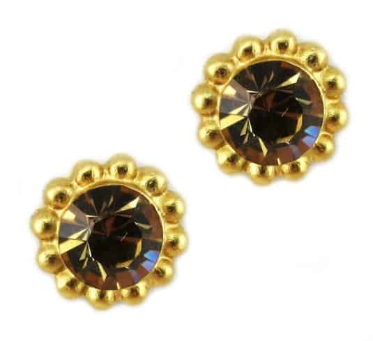 Mariana Jewelry Gold Plated Sunflower Post Earrings with Light Colorado Fawn Swarovski Crystal