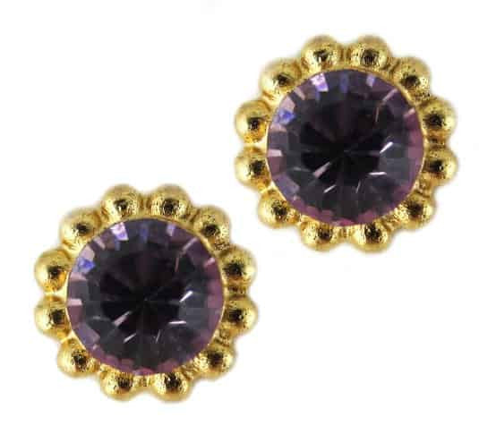 Mariana Jewelry Gold Plated Sunflower Post Earrings with Light Purple Swarovski Crystal