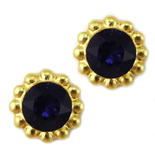 Mariana Jewelry Gold Plated Sunflower Post Earrings with Purple Velvet Swarovski Crystal
