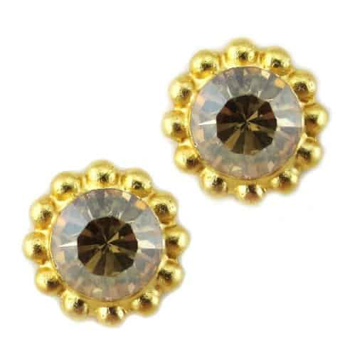 Mariana Gold Plated Sunflower Post Earrings with Vintage Rose Swarovski Crystal