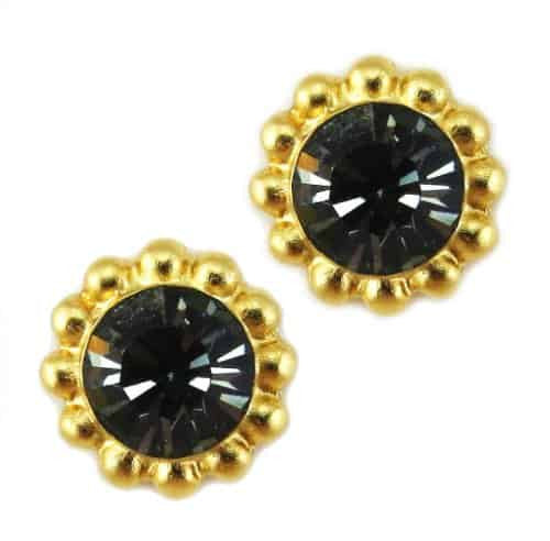 Mariana Gold Plated Sunflower Post Earrings with Shimmer Grey Swarovski Crystal