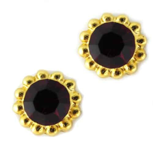 Mariana Jewelry Gold Plated Sunflower Post Earrings with Siam Swarovski Crystal