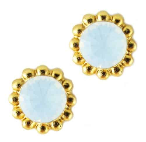 Mariana Jewelry Gold Plated Sunflower Post Earrings with White Opaque Swarovski Crystal