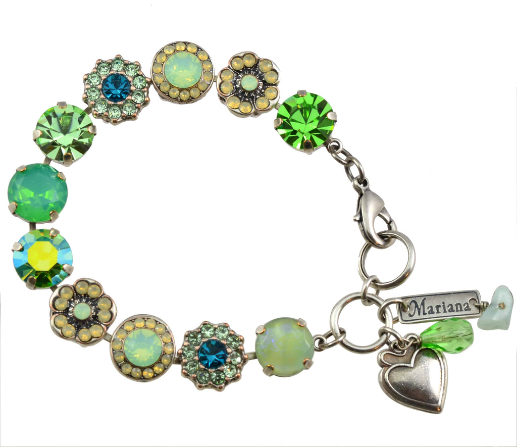 Mariana Jewelry Grace Silver Plated Flower Swarovski Crystal Tennis Bracelet , 8