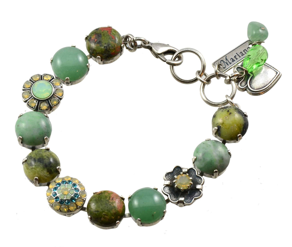 Mariana Grace Silver Plated Rock and Flower Swarovski Crystal Tennis Bracelet