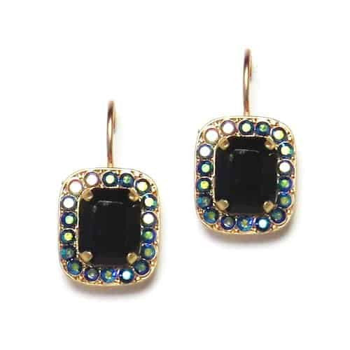 Mariana Jewelry Grease Lightning Gold Plated Rectangle Swarovski Crystal Drop Earrings