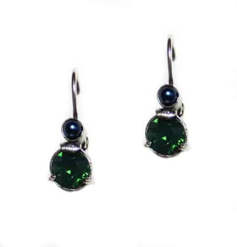 Mariana Jewelry Green City Silver Plated Petite Round Blue and Green Swarovski Crystal Drop Earrings