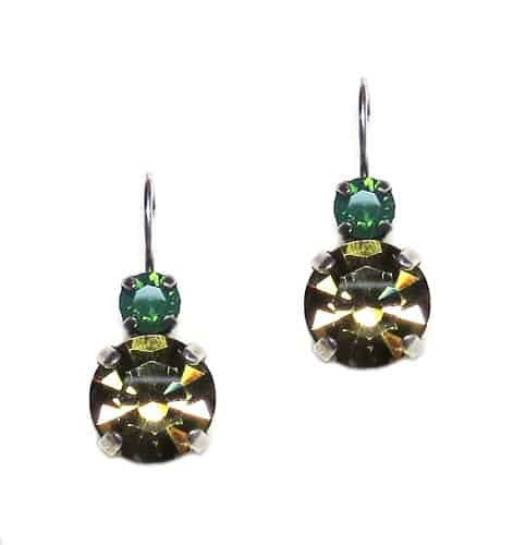 Mariana Green City Silver Plated Petite Round Swarovski Crystal Drop Earrings