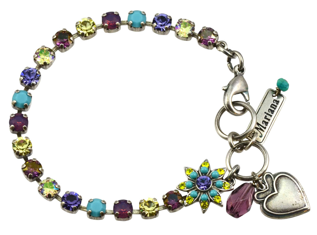 Mariana Jewelry Happiness Silver Plated Swarovski Crystal Tennis Bracelet with Flower and Heart, 8