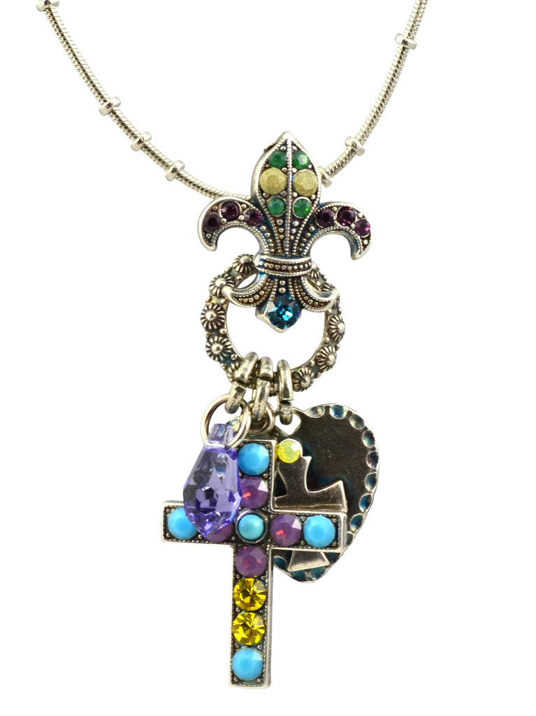 Mariana Jewelry Happiness Silver Plated Swarovski Crystal Cross/Fleur de Lis Necklace