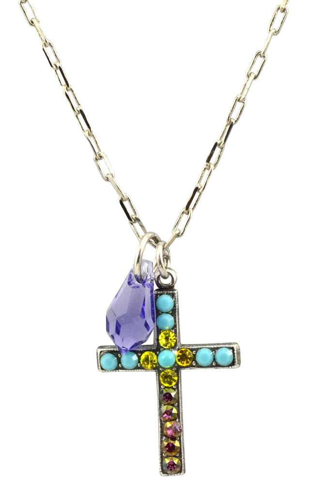 Mariana Jewelry Happiness Silver Plated Swarovski Crystal Cross Necklace