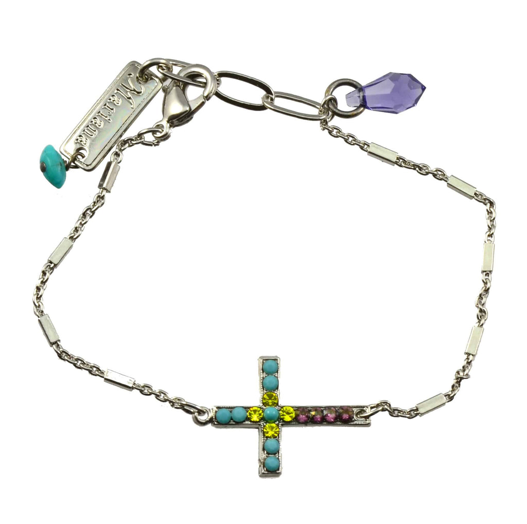 Mariana Jewelry Happiness Silver Plated Swarovski Crystal Sideways Cross Bracelet