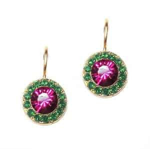 Mariana Jewelry Happy Days Gold Plated Petite Circle in Green and Fuchsia Swarovski Crystal Drop Earrings