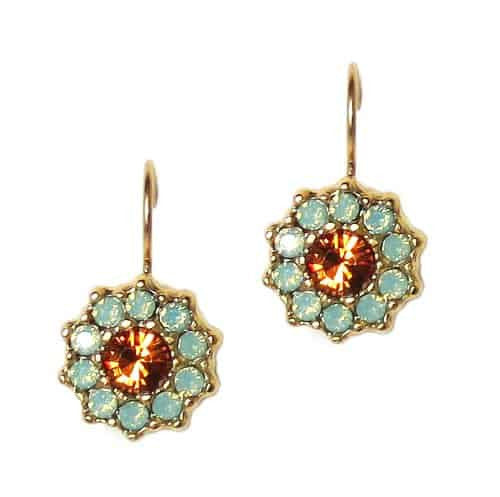 Mariana Jewelry Happy Days Gold Plated Flower in Pacific Opaque and Fawn Swarovski Crystal Drop Earrings