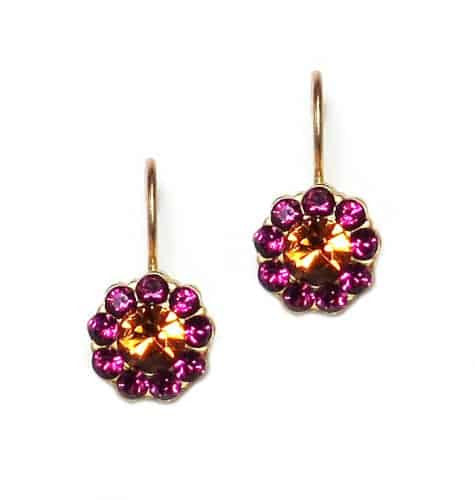 Mariana Jewelry Happy Days Gold Plated Petite Mandala Swarovski Crystal Drop Earrings