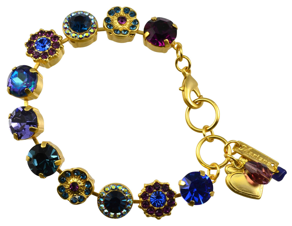 Mariana Jewelry Happy Hour Gold Plated Swarovski Crystal Large Gem Tennis Bracelet with Heart, 8