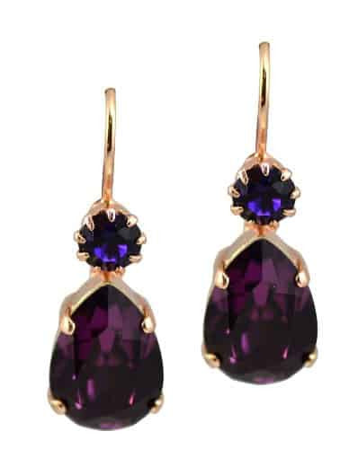 Mariana Jewelry Happy Hour Matte Rose Gold Plated Teardrop Swarovski Crystal Drop Earrings