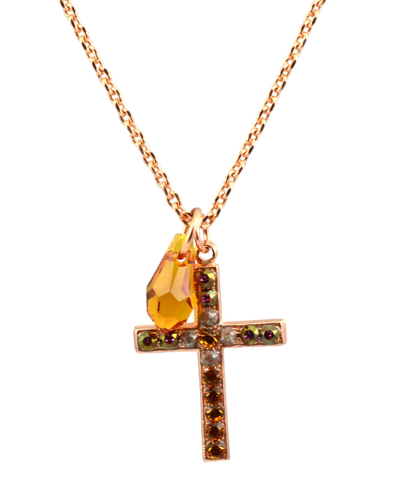 Mariana Jewelry Hope Rose Gold Plated Swarovski Crystal Cross Necklace