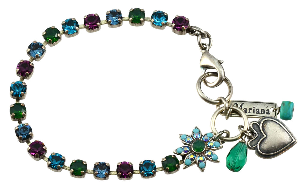 Mariana Inspire Silver Plated Swarovski Crystal Tennis Bracelet with Flower and Heart, 8
