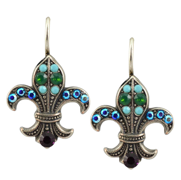 Mariana Inspire Silver Plated Swarovski Crystal Fleur de Lis Drop Earrings