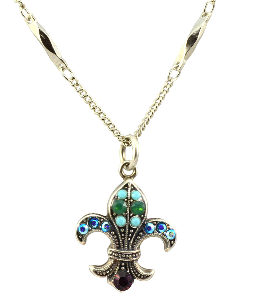 Mariana Jewelry Inspire Silver Plated Swarovski Crystal Fleur de Lis Pendant Necklace