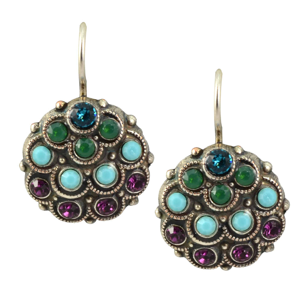 Mariana Jewelry Inspire Silver Plated Swarovski Crystal Peacock Drop Earrings