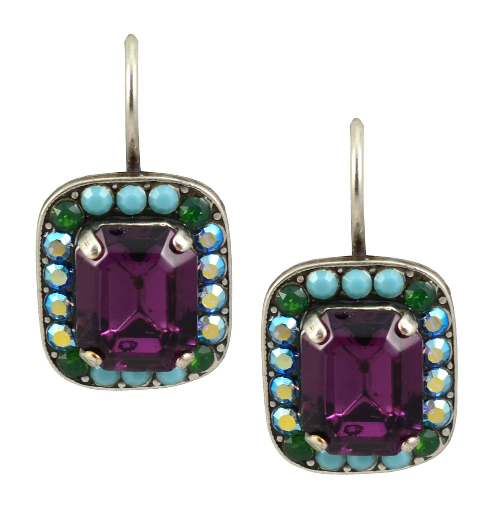 Mariana Jewelry Inspire Silver Plated Swarovski Crystal Rectangle Drop Earrings