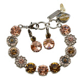Mariana Jewelry Jackie Bracelet and Earrings Set With Gold Plated Round Swarovski Crystal