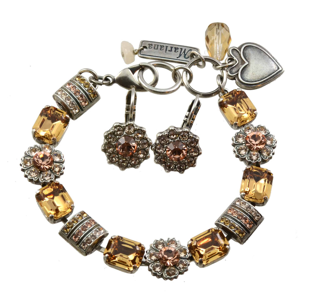 Mariana Jackie Bracelet and Earrings Set With Gold Plated Square Swarovski Crystal