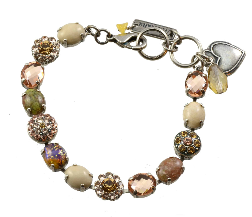 Mariana Jewelry Jackie Silver Plated Stone and Swarovski Crystal Tennis Bracelet