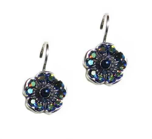 Mariana Jewelry Jade Silver Plated Petite Blossom Swarovski Crystal Drop Earrings
