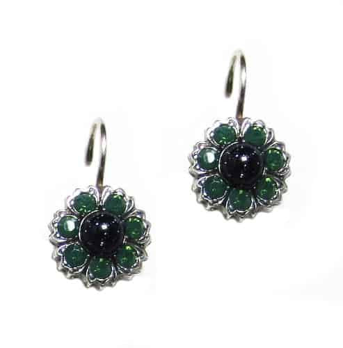 Mariana Jade Silver Plated Blossom in Green and Jet Swarovski Crystal Drop Earrings