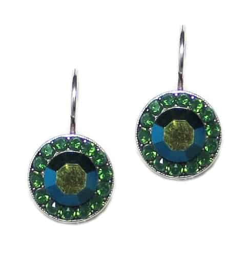 Mariana Jewelry Jade Silver Plated Petite Circle Swarovski Crystal Drop Earrings