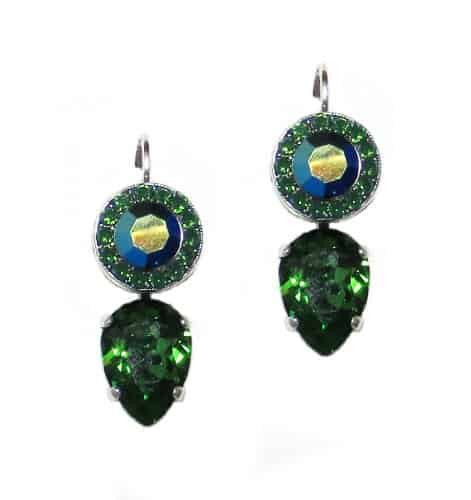 Mariana Jade Silver Plated Swarovski Crystal Drop Earrings in Green and Green AB