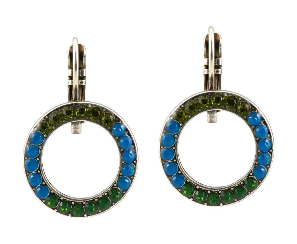 Mariana Jewelry Jade Silver Plated Swarovski Crystal Round Circle Earrings