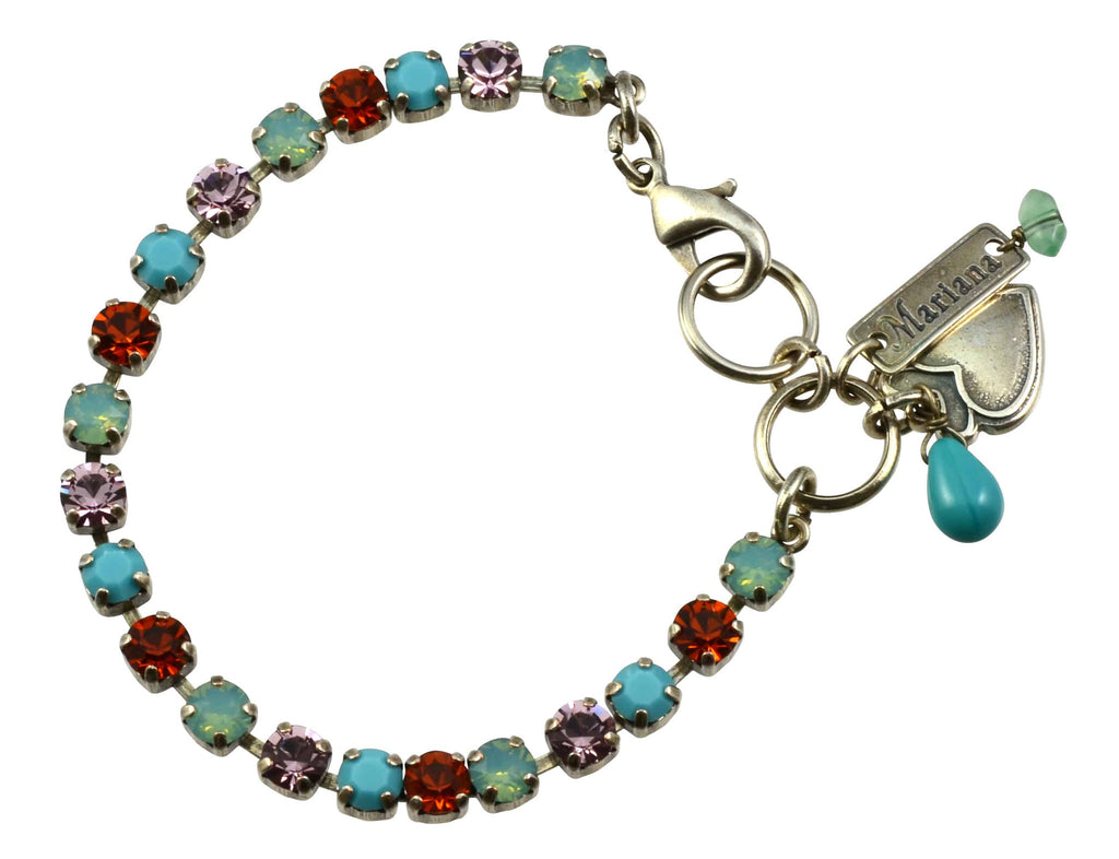 Mariana Judy's Favorite Silver Plated Swarovski Crystal Tennis Bracelet with Heart Pendant, 8