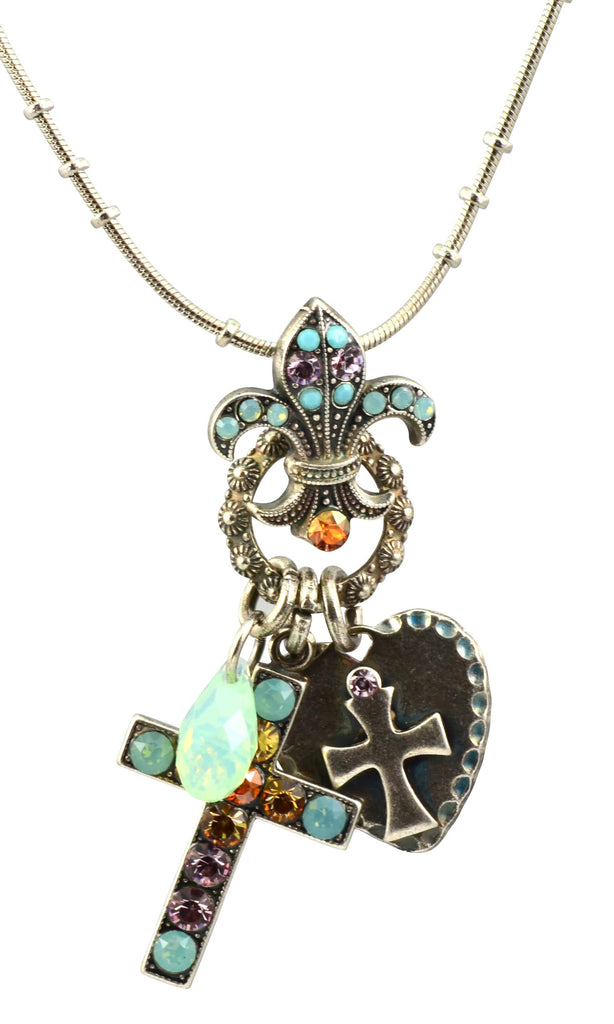 Mariana Judy's Favorite Silver Plated Swarovski Crystal Cross/Fleur de Lis Necklace