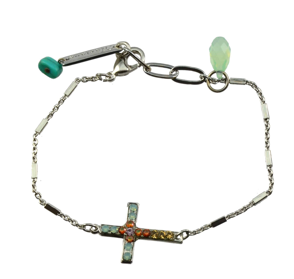 Mariana Jewelry Judy's Favorite Silver Plated Swarovski Crystal Sideways Cross Bracelet