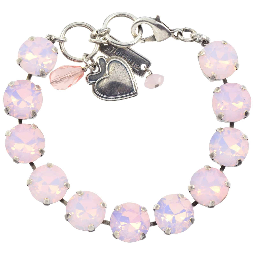Mariana Jewelry Large Tennis Bracelet, Silver Plated with Rose Opaque Swarovski Crystal, 8 4474 395395