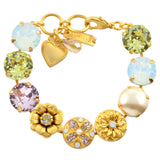 Mariana Jewelry Large Round Tennis Bracelet with Flower Accents, Gold Plated with Swarovski Crystal, 8 4506 2102