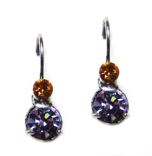 Mariana Lilac Silver Plated Petite Round Brown and Medium Purple Swarovski Crystal Drop Earrings