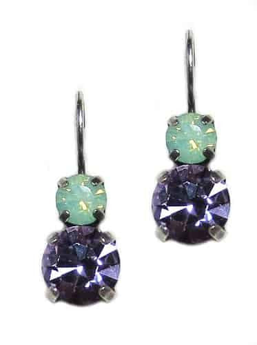 Mariana Lilac Silver Plated Petite Round Swarovski Crystal Drop Earrings