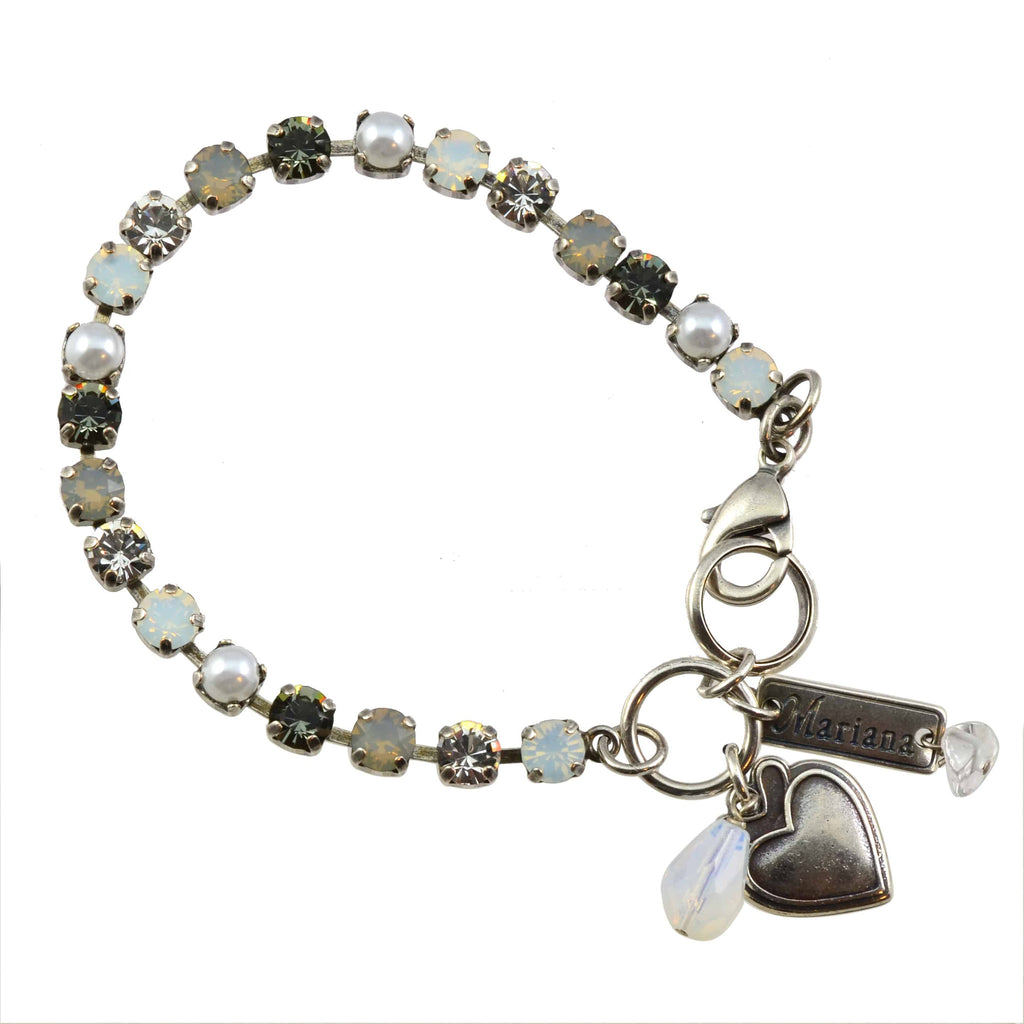 Mariana Jewelry Marilyn Silver Plated Swarovski Crystal Tennis Bracelet with Heart Pendant, 8