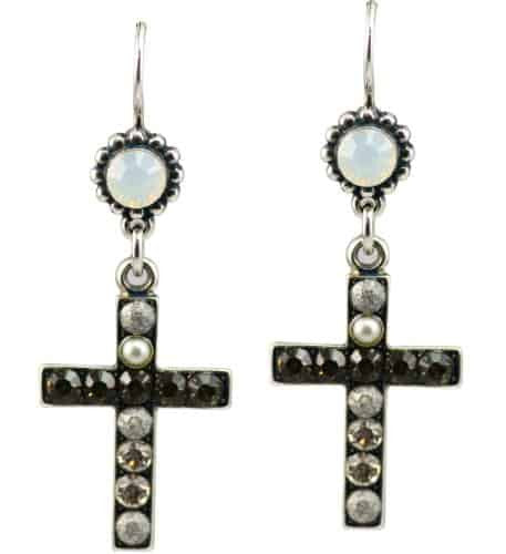 Mariana Marilyn Silver Plated Swarovski Crystal Jewel and Cross Dangle Earrings