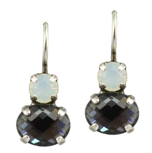 Mariana Marilyn Silver Plated Petite Oval Swarovski Crystal Drop Earrings